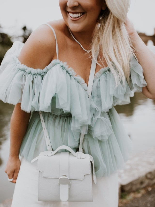 mint tulle amazon top and senreve alunna bag