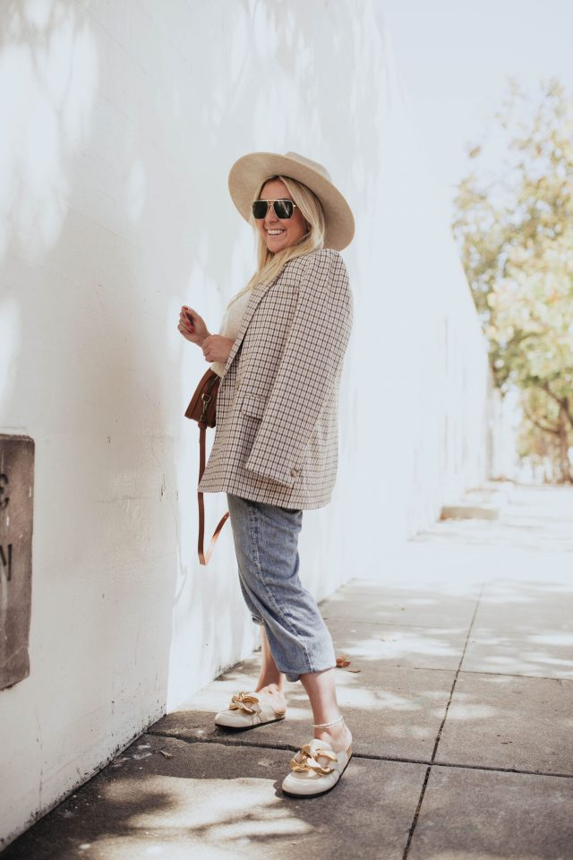 San Francisco fashion blogger KatWalkSF wears a Madewell blazer, sweater vest and leather bag with the Rag & Bone miramar jeans.