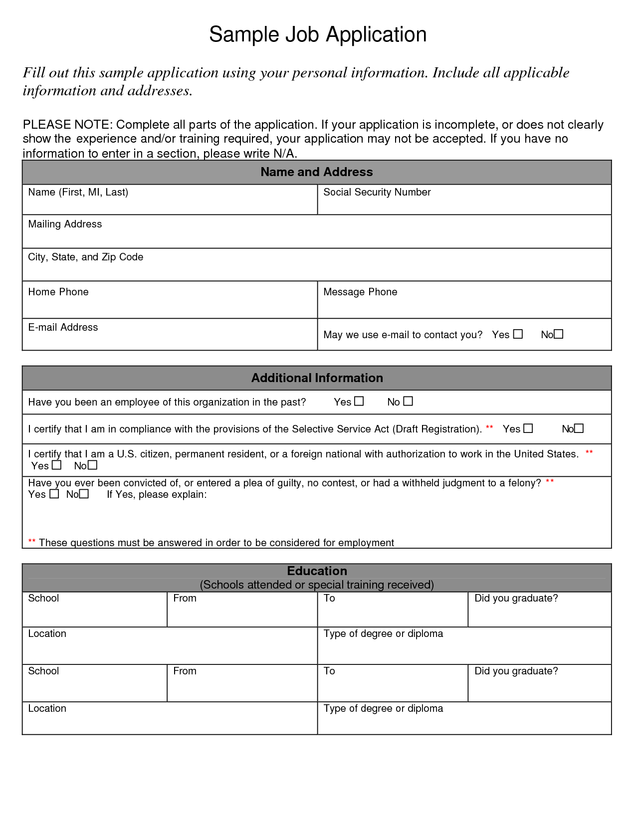 application for employment samples