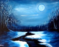 Monochromatic art, Evergreen and Landscape paintings on ...