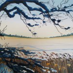 Watercolour Painting: Winter Lake commission