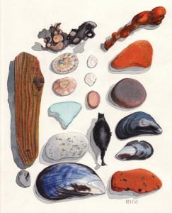 Colour Pencil Drawing titled Dundee Beach Bits