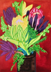 Ink on Board Painting Flowers from Friends: Proteas