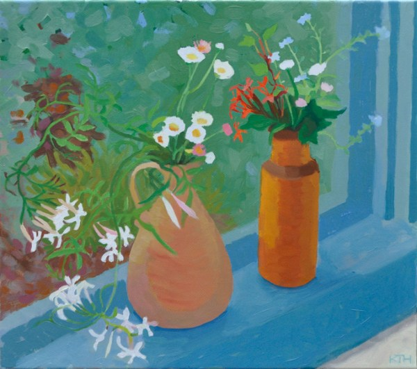Oil Painting Flowers on Windowsill