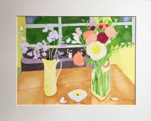 Watercolour Painting Sunny Room, Cloudy Day, Framed