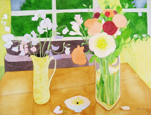Watercolour Painting Sunny Room, Cloudy Day