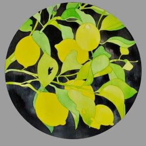Acrylic Ink on round Wood Panel Fresh Crop Lemons II