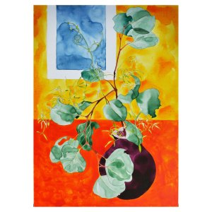 Native Clematis in Purple Pot Acrylic Ink Bright Painting on Board