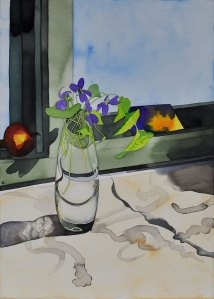 Acrylic Ink on Board flowers still life painting Violets in Sunlight with Test Swatch