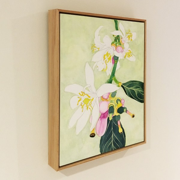 Framed Acrylic Ink and Paint on board, of Lemon Blossom, side view