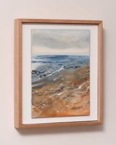 Dawn Sea, Indigo & Sienna. Watercolour & Pen on Board, side view