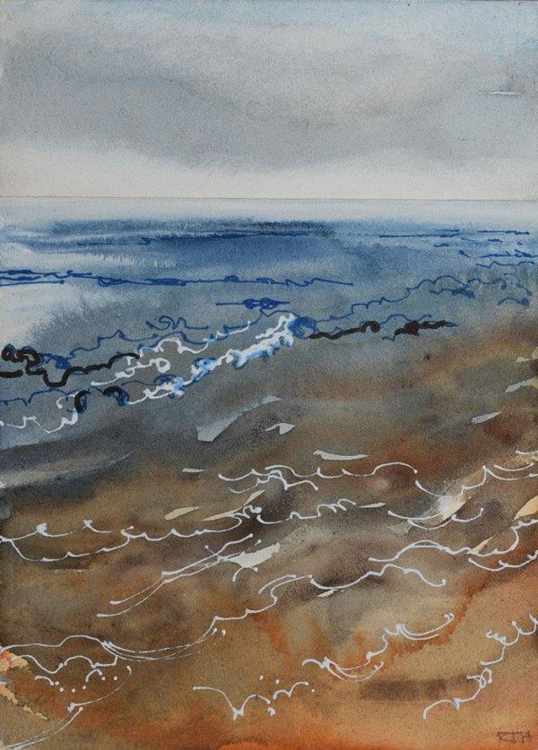 Dawn Sea, Indigo & Sienna. Watercolour & Pen on Board