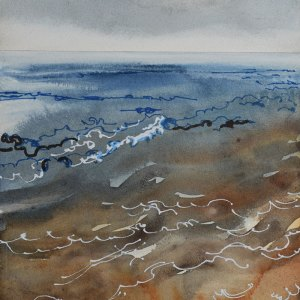 Dawn Sea, Indigo & Sienna. Watercolour & Pen on Board