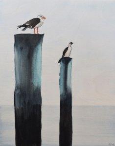 Sea Sentinels. Watercolour on Wood.