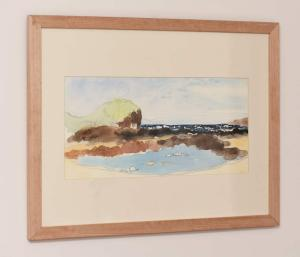 Sheltered Rock Pool, Berrys Beach. Framed Watercolour on 100% cotton watercolour paper, side view.