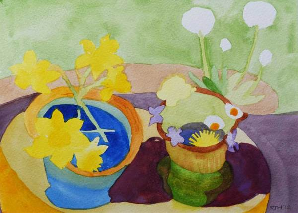 Spring Flowers, Stool Top. Framed Watercolour