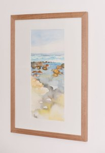 Surf and Shallows, Berrys Beach. Framed Watercolour on Paper.