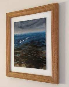 Dawn Peaceful Wavelets III Watercolour framed side-view