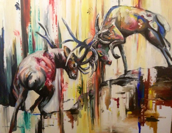 Stags Locking Horns Oil Painting Canvas Commission Katy Jade Dobson