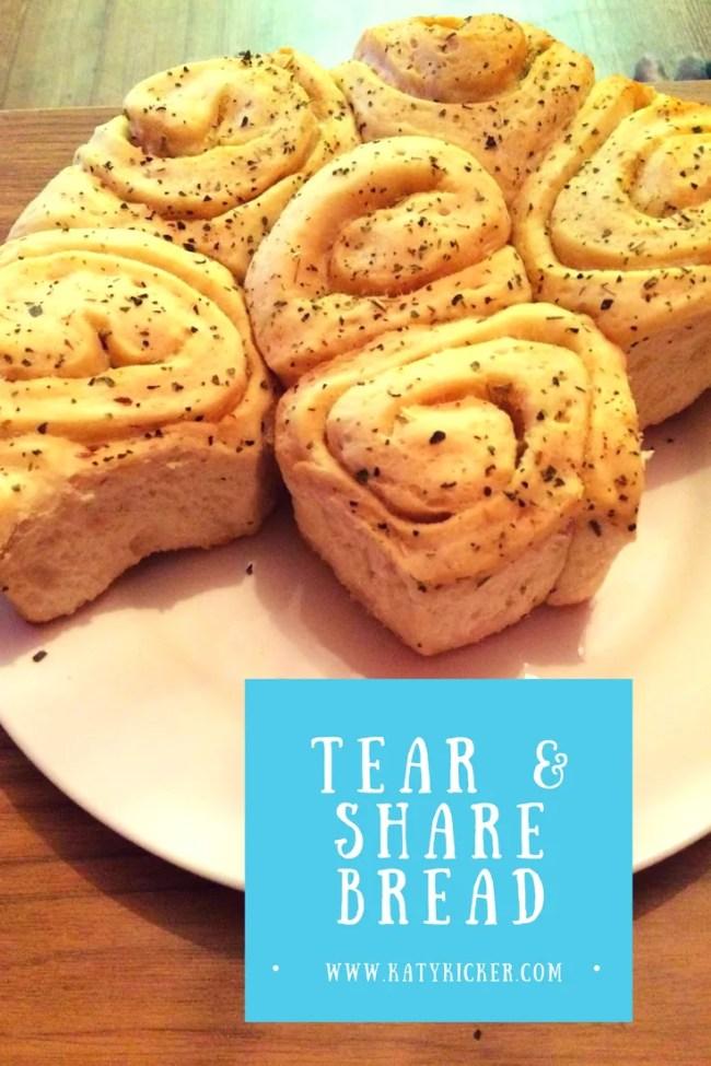 Tear & share bread made using a Panasonic bread maker