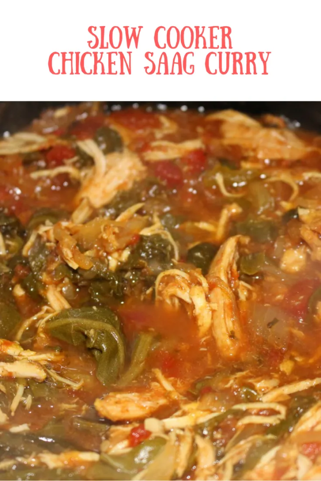 Simple, delicious, nutritious slow cooker chicken saag curry. Pop dinner in the slow cooker in minutes and leave it for the whole day!