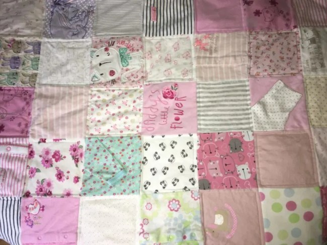 Baby milestone blanket from KJS Designs UK - A look at the finished blanket