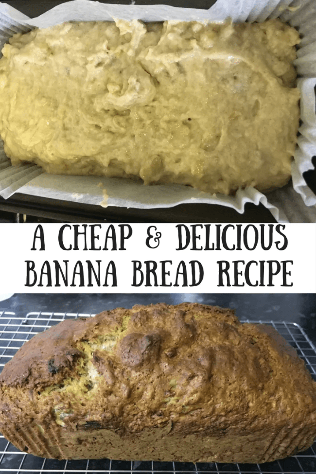I have made a super cheap, delicious and fast banana bread. It is ready to go in the oven in under 5 minutes and super tasty too!