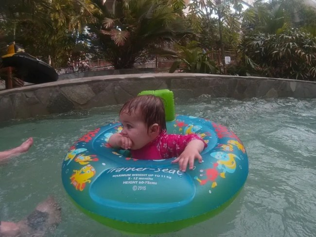 What to pack for centerparcs - Daisy swimming in her swimseat