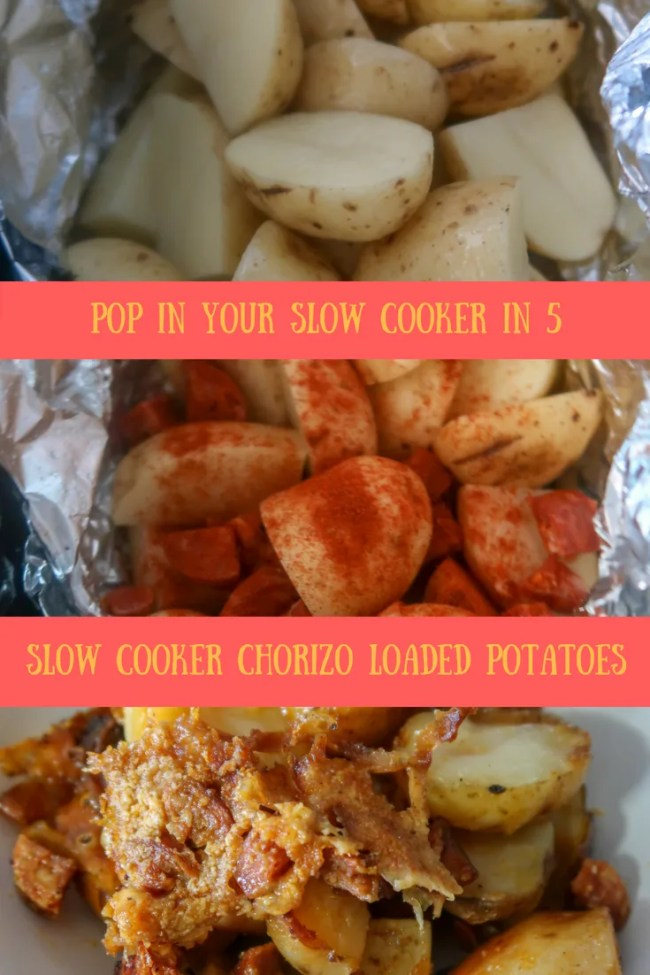 My easy slow cooker chorizo loaded potatoes - Pop in the slow cooker in just seconds and leave to cook. #slowcooker #potatoes #frugal #cheapeats #roastdinner