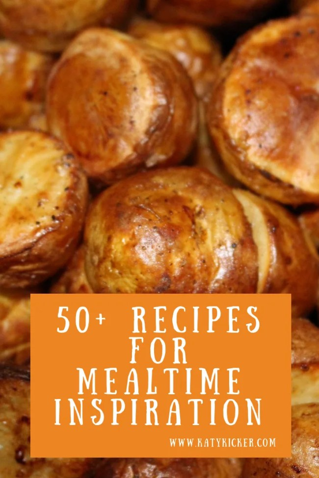 50+ recipes for mealtime inspiration. Frugal dinners, slow cooker meals, side dishes in your slow cooker, easy bakes and delicious desserts. #slowcooker #cheapeats #frugal #dinner #sidedishes #mealplan