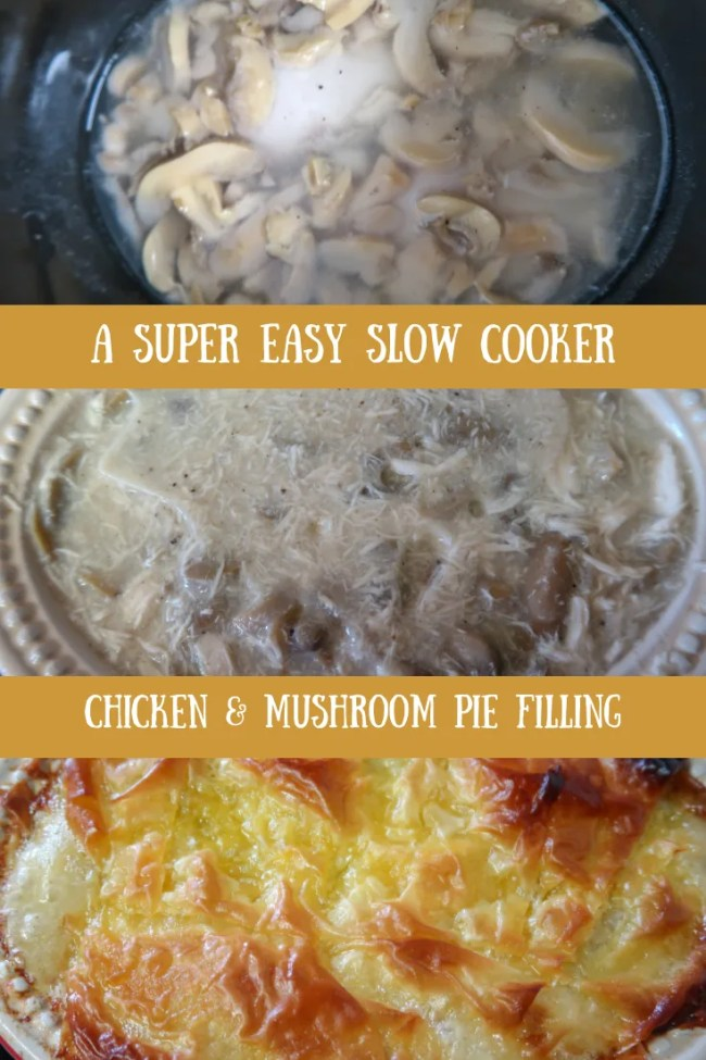 Tasty, delicious simple - Slow cooker chicken mushroom pie filling. #frugal #food #slowcooker #chickenrecipes #easy