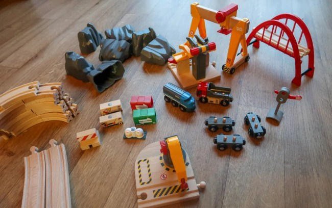 All of the pieces for the BRIO Cargo Railway Deluxe Set