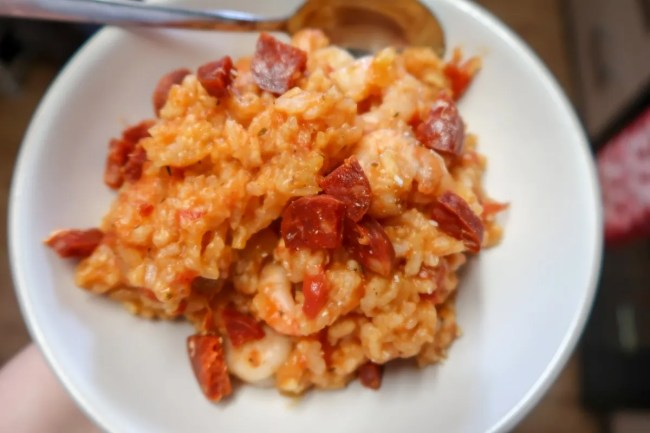 The Slow cooker chicken and prawn paella with chorizo added