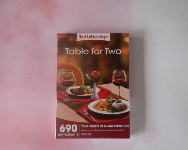 Table for Two gift from Red Letter Days