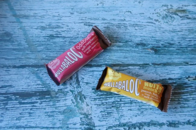 Hullabaloo Chocolates with 75% less sugar than the average chocolate bar.