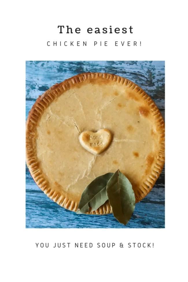 Amazing easy chicken pie recipe! Super simple, frugal, a chicken pot pie made with soup! #Chicken #Soup #ChickenRecipes #ChickenPie #Leftover #LoveYourLeftovers #RoastDinner #RoastChicken