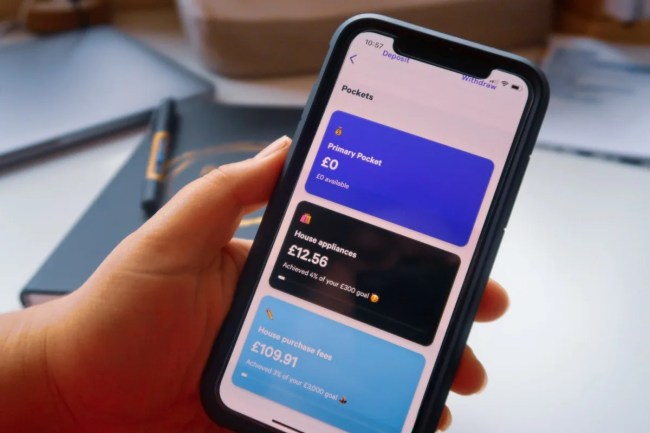 A hand holding an iPhone X displaying the Pockets feature of Plums finance app - £0 Primary Pocket, £12.56 House appliances, £109.91 House Purchase Fees
