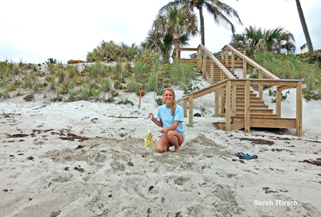 Loggerhead Marinelife Center Field Staff, Shelby, flagging a Loggerhead nest 4/20/2014.