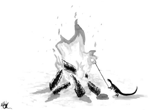 #Inktober #Inktober2018 Day 3: Roasted. Mini velociraptor roasting a marshmallow over a campfire.