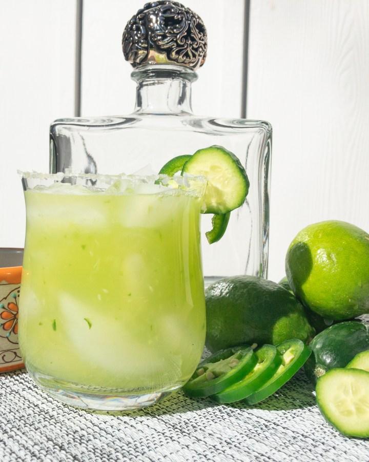 cucumber jalapeño margarita with ingredients