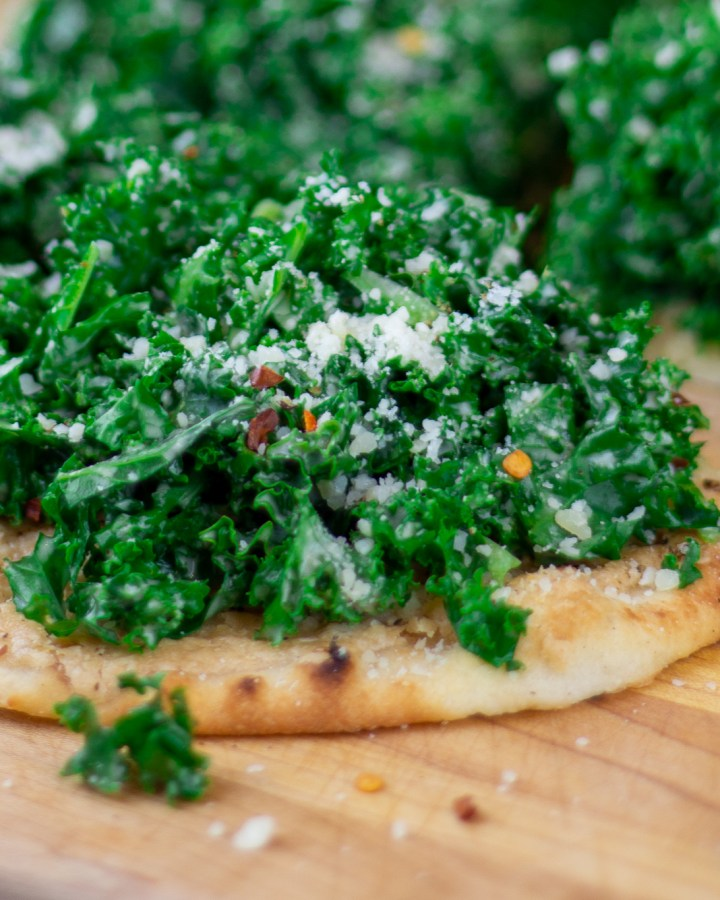 Lemon Tahini Kale Flatbread closeup pic
