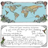 This is my handdrawn wedding invitation created for a very special couple .. The design has been inspired and tailored especially to them, sharing their journey of how they met, with a vintage twist!