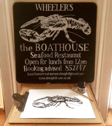 I was commissioned by the beautiful Boathouse Restaurant at Steephill Cove to create a new identity for the brand featuring their iconic, and in house seafood speciality - lobster. I created a hand drawn logo, menu design, wine list, receipts, business cards and hand drawn chalkboards.