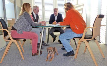 Bürohund Julie darf auch an wichtigen Besprechungen teilnehmen.