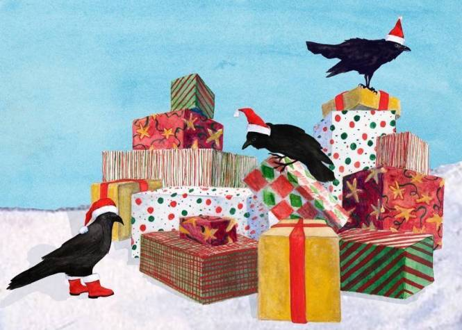 Pesky ravens investigate a pile of presents in the snow.