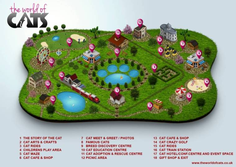 3d map world of cats