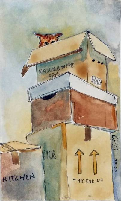 Cat with moving boxes. Watercolor and drawing.