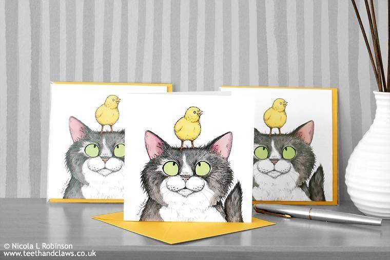 Easter Cat Art Print and Cards (Teeth and Claws by Nicola L