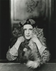 Paul Tanqueray, Elinor Sutherland, Mrs Elinor Glyn (1864-1943) with her two cats 'Candide' and 'Zadig' at Montacute House, Somerset.
