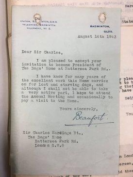 1943 Duke of Beaufort accepts invitation 14.08.43